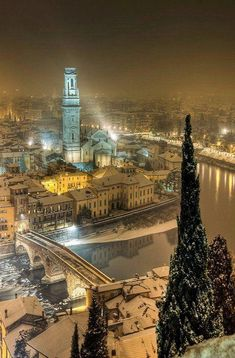 Winter night over Verona, Italy