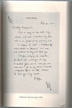 a valentines day love letter from ronald reagan to his wife nancy