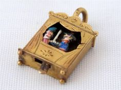 Lovely Vintage 18ct Gold & Enamel Moving Punch & Judy Show Pendant / Charm