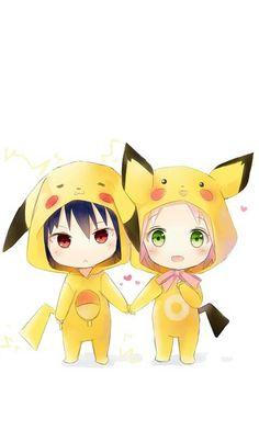 Chibi sasusaku in Pikachu clothing