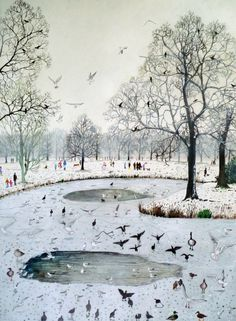 """Feeding Birds on Frozen Lake"" by Emma Haworth (watercolour and gouache)"