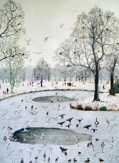 """Feeding Birds on Frozen Lake"" by Emma Haworth (watercolour and gouache)"