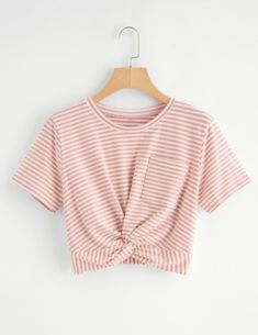 SheIn offers Striped Twist Front Crop Tee & more to fit your fashionable needs. SheIn offers Striped Twist Front Crop Tee & more to fit your fashionable needs. Crop Tops For Kids, Cute Crop Tops, Crop Top Shirts, Crop Tee, Girls Fashion Clothes, Teen Fashion Outfits, Trendy Outfits, Pink Outfits, Mode Grunge