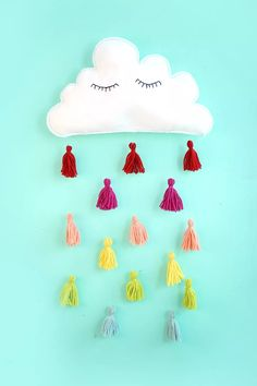DIY cloud and tassels wall decor.