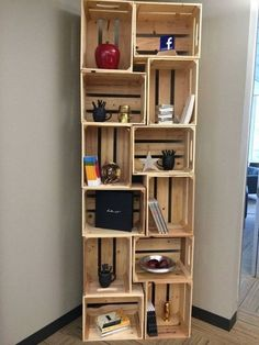 Items similar to wooden crate bookshelf- unstained with brackets on Etsy - Diy Möbel Wooden Crates Rustic, Wooden Crate Furniture, Wooden Crate Shelves, Diy Wooden Crate, Crate Bookshelf, Wood Crates, Wooden Boxes, Diy Furniture, Bookcase