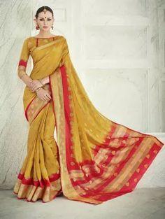 c13fdd9a6778a Beguiling Mustard Designer Saree Banarasi Sarees