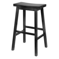 Add an elegant flair to your home decor with this Andover Mills® Saddle Bar Stool. The clever design of the foot rest offers great utility as well as design to this bar stool. This Saddle Bar Stool from Andover Mills® is entirely constructed from high quality wood. The frame and seat of this bar stool have a contemporary black finish. This armless bar stool has a simple saddle shaped seat. The four legs of the bar stool lend it a strong and well held base.