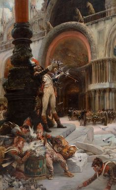 Napoleon's Troops in Front of San Marco, Venice by CLAIRIN, Georges-Jules-Victor