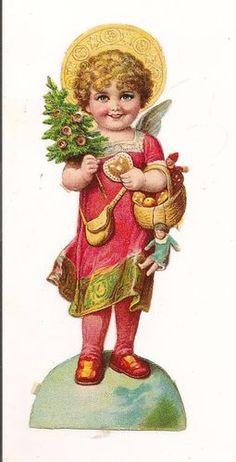 Actual Victorian Era Paper Scrap Angel / Chistmas Child in Red | eBay