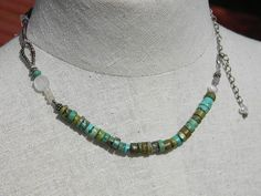 Turquoise and sterling necklace by juRnE on Etsy, $40.00