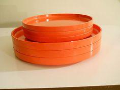 Heller-Massimo-Vignelli-Mid-Century-Plates-3-Dinner-3-Salad-Orange