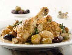 Geschmortes Hendl mit Knoblauch und Oliven Rezept