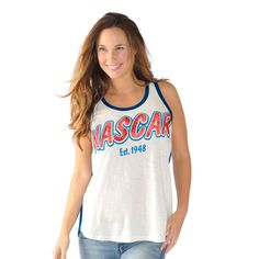 Women's NASCAR Merchandise G-III 4Her by Carl Banks White Horsepower Tank Top @NASCAR.store.com #NASCAR #womens #fashion #shirt #top #tank #sleeveless