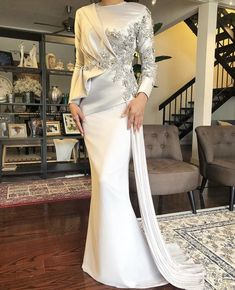 Beautiful long wedding dress by Davis Paul Lister DPLKL - hijab ideas Muslimah Wedding Dress, Hijab Wedding Dresses, Event Dresses, Bridal Dresses, Malay Wedding Dress, Hijab Evening Dress, Hijab Dress Party, Lace Evening Dresses, Dress Pesta