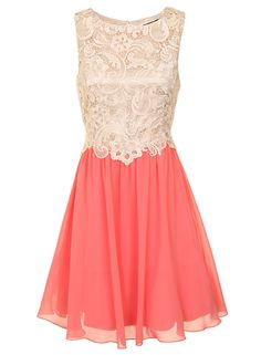 cream and coral lace bridesmaid dress
