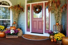 Fall Entryway - I have been getting the stalks like this for years love this entry way.