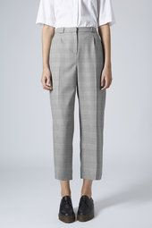Prince of Wales Check Wide Leg Trousers; topshop