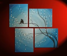 Original Painting Love Bird Wall Art Sky Blue por NathalieVan