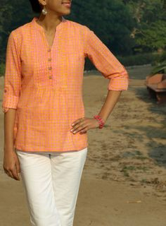 HandsOfIndia - Coral Pink Hand-printed tunic