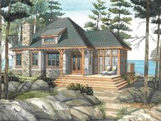 [ Cottage Plans Normerica Design The Baril Country House Southern With Porches ] - Best Free Home Design Idea & Inspiration Small Lake Houses, Small Cottage House Plans, House Plan With Loft, Mountain House Plans, Beach House Plans, Cottage Plan, Cottage Ideas, Tiny Houses, Waterfront Cottage
