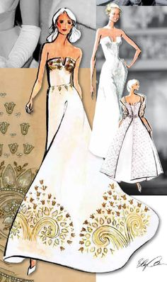 """Oleg Cassini gown design featuring """"The Notch"""", a sculpted look allowing a unique mix of fabrics and embroideries."""