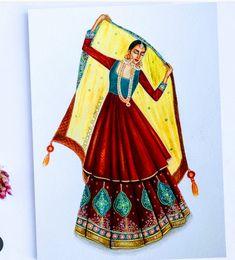 Dress Design Sketches, Fashion Design Drawings, Fashion Sketches, Fashion Illustration Dresses, Fashion Illustrations, Indian Illustration, Body Proportions, Beautiful Bollywood Actress, Digital Portrait