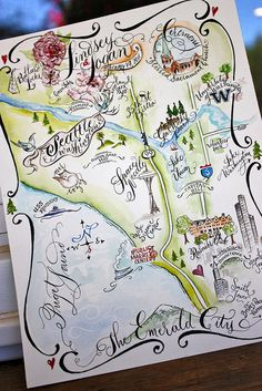 Seattle, WA Watercolored Wedding Map by Miss Danae, via Flickr