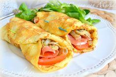 crepes salados con jamón serrano y mozarella fresca