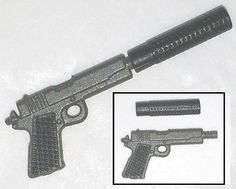 "45 Automatic Pistol w/ Silencer Gun-Metal -1:18 Scale Weapon for 3-3/4"" Figures"