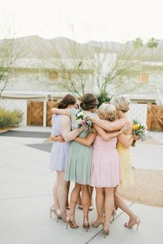 Try a fun multi color bridesmaids look