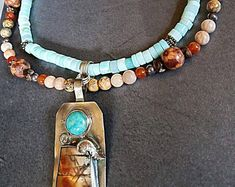 Peruvian Opal Necklace, Turquoise Jewelry, Picasso and Turquoise Pendant, Bohemian Jewelry, Hippie Jewelry, Gypsy Necklace, Gift for Women