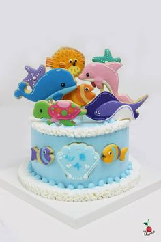 Sea Animals Cake Sea Creatures Cake Colorful sea creatures Cute and educational cake which is good for kids!