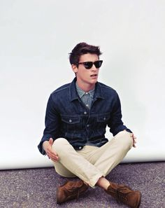 Shop this look for $171:  http://lookastic.com/men/looks/navy-denim-jacket-and-blue-denim-shirt-and-beige-chinos-and-brown-boots/374  — Navy Denim Jacket  — Blue Denim Shirt  — Beige Chinos  — Brown Suede Boots