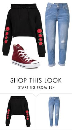 """""""Untitled #354"""" by sarcastic-unicorn-13 on Polyvore featuring Boohoo, WithChic and Converse"""