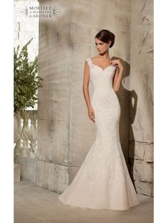 Mori Lee 5316 Ivory/Silver Lace Fishtail Wedding Dress size 12