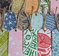 Hand crafted lino cut gift tags