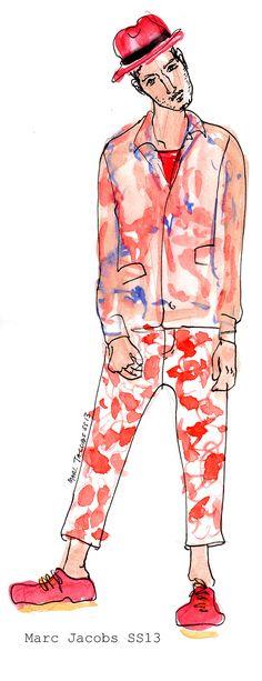Marc Jacobs SS13 Menswear illustration, via men.wear.draw