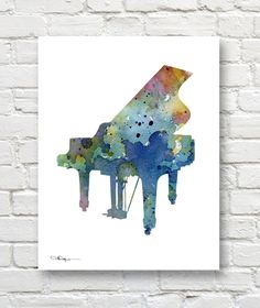 Blue Piano Art Print - Abstract Watercolor Painting - Music Wall Decor