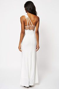 NEW Cream or Black One Shoulder Evening Dress with Floral Lace Insert. UK 6-8, 10-12, 14-16. £25.99 shipped. Click to buy.