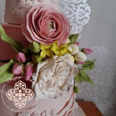 Romantic wedding cake with sugar ranunculus, David austin roses, filler flowers and foliage. David Austin Roses, Sugar Flowers, Ranunculus, How To Make Cake, Cake Designs, Wedding Cakes, Romantic, Cake Templates, Wedding Gown Cakes