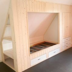 Prodigious Attic Rooms Tips Ideas 9 Stupefying Useful Tips: Attic Playroom Stairs attic door stairs.Attic Door Stairs attic bedroom c Attic Bedrooms, Closet Bedroom, Diy Bedroom, Bedroom Ideas, Upstairs Bedroom, Slanted Wall Bedroom, Bonus Room Bedroom, Attic Wardrobe, Bedroom Rustic