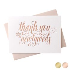 Wedding Thank You Cards Rose Gold Foil Stamped Letterpress From the New Mr /& Mrs Design 36 Cards Plus Envelopes