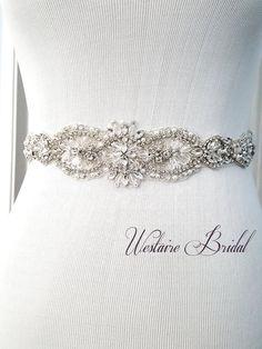 Rustic Wedding Sash Beaded bridal sash crystal by WestaireBridal