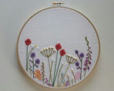 Wild Flowers Hand Embroidery Hoop. Poppies, daisies, meadow.