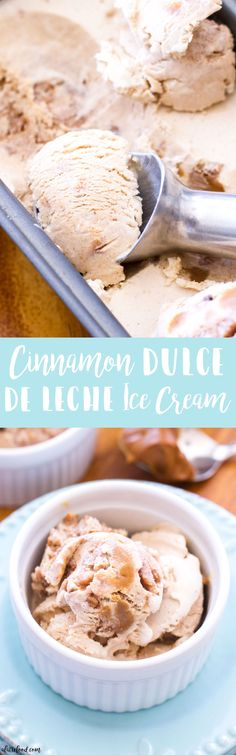 This homemade Cinnamon Dulce de Leche Ice Cream is filled with homemade cinnamon crunch bits and swirled with dulce de leche! It's like eating a churro in ice cream form. Cinco de Mayo dessert has never tasted this good. High-fives all around!