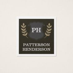 Scholar Shield Square Business Card - monogram gifts unique design style monogrammed diy cyo customize