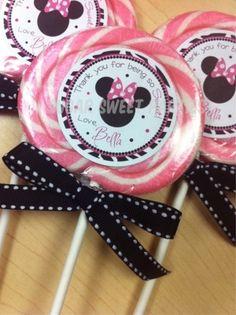 Minnie Mouse Zebra Lollipop Favors by valarie
