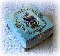 Wooden tea box  decoupage tea box  jewelry box by CarmenHandCrafts