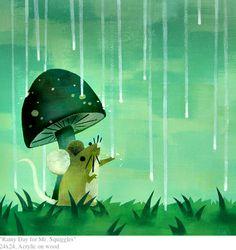 andre jolicoeur mouse with mushroom umbrella