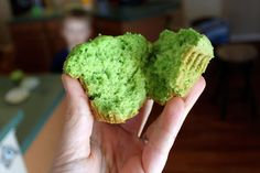 Fun and healthy green st. patricks day cupcakes.  (Box cake with spinach & applesauce)
